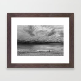 Jogger on Beach Framed Art Print