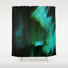 Aurora Borealis - Abstract Glitchy Pixel Art Shower Curtain