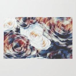 Roses print in retro drawing style watercolor digital Rug