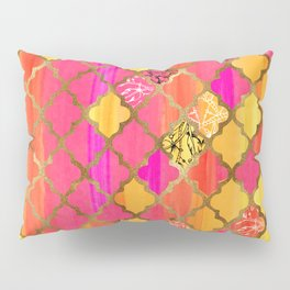 Moroccan Tile Pattern In Pink, Red, Orange, And Gold Pillow Sham