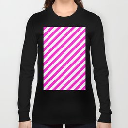 Diagonal Stripes (Hot Magenta/White) Long Sleeve T-shirt