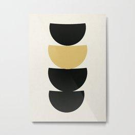 Crescents (Black and Mustard) Metal Print