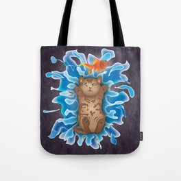 Water Splash Cat Goldfish Tote Bag