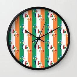 Ireland Rugby Fan Irish Tricolour Flag Design Wall Clock