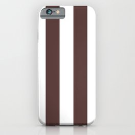 Dark Brown Granite and White Wide Vertical Cabana Tent Stripe iPhone Case