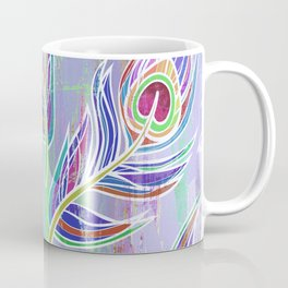 Lilac and blue peacock feathers print Coffee Mug