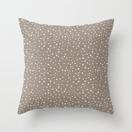 PolkaDots-Peach on Taupe Throw Pillow