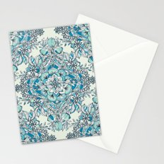 Floral Diamond Doodle in Teal and Turquoise Stationery Cards
