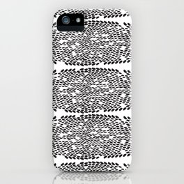 Snake skin scales texture. Seamless pattern black on white background. simple ornament iPhone Case