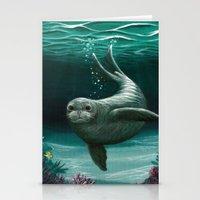 hawaiian Stationery Cards featuring Hawaiian Monk Seal ~ Acrylic by Amber Marine