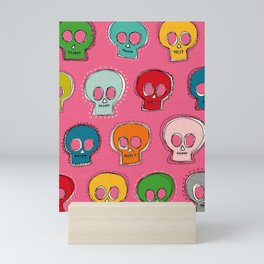 sew skully pink Mini Art Print