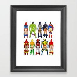 Superhero Butts Framed Art Print