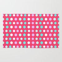 polka dots Area & Throw Rugs featuring Polka Dots by Ornaart