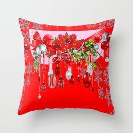 RED WINTER SNOWFLAKES & CHRISTMAS DECORATIONS ART Throw Pillow