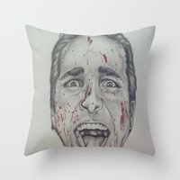 american psycho Throw Pillows featuring American Psycho by A.H.