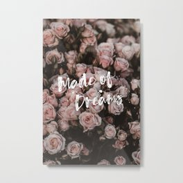 Peach Pink Romantic Roses - made of dreams Metal Print
