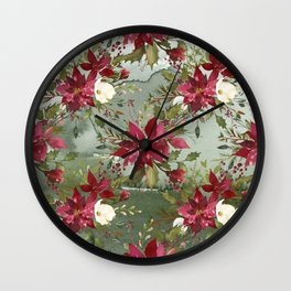 Watercolor botanical green burgundy ivory floral Wall Clock