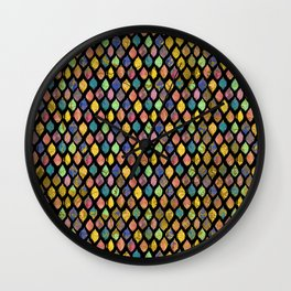 Tribal Leaf Splatter  Watercolor and Gold Pattern Wall Clock