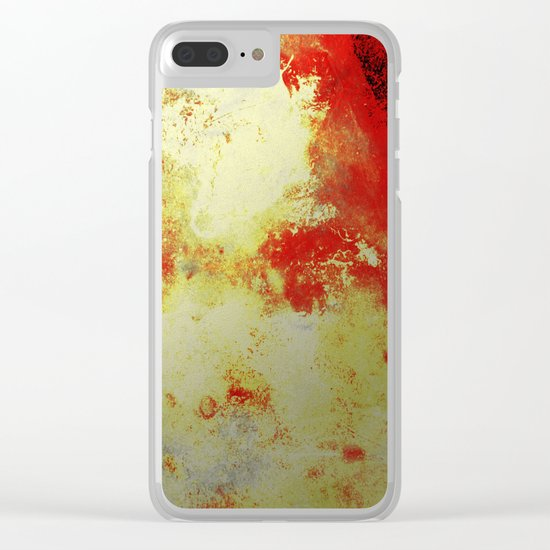 Into The Heat - Black, red, yellow and silver abstract painting Clear iPhone Case