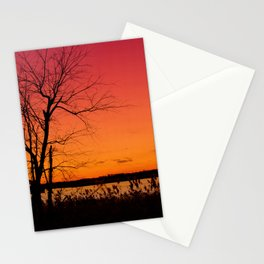 Burning Skies Rural / Rustic Sunset Silhouette Landscape Photo Stationery Cards