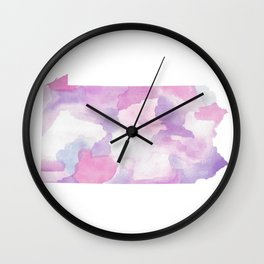 Watercolor State Map - Pennsylvania PA purples Wall Clock