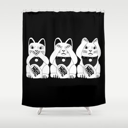 Three Smart Cats Shower Curtain