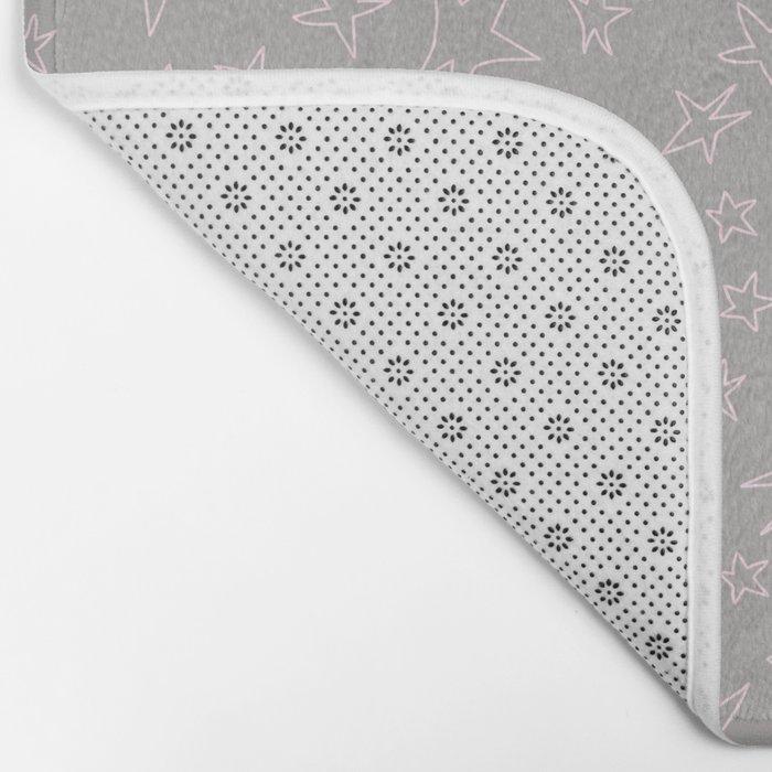 Pink handpainted little stars on grey background Bath Mat