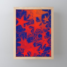 Vector blue background in red stars. For registration of paper or banners. Framed Mini Art Print