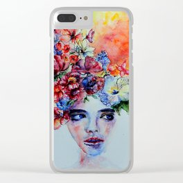 Dreamy girl in watercolor Clear iPhone Case