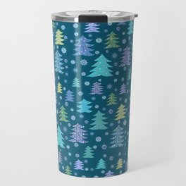Winter Holidays Christmas Tree Green Forest Pattern Travel Mug