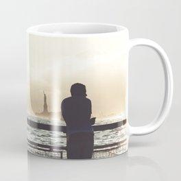Lady Liberty, my man, some fisher people. Coffee Mug