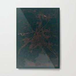 Bern Map Red Metal Print