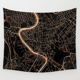 Black and gold Rome map Wall Tapestry