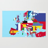 europe Area & Throw Rugs featuring Europe flags by SebinLondon