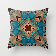 Brown Blue Azalea 1 Throw Pillow