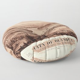 Map Of Olympia 1879 Floor Pillow