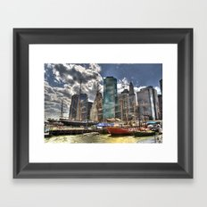 NYC Harbor, south seaport Framed Art Print