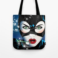 catwoman Tote Bags featuring Catwoman by mark ashkenazi