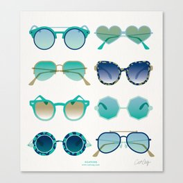 Sunglasses Collection – Turquoise & Navy Palette Canvas Print