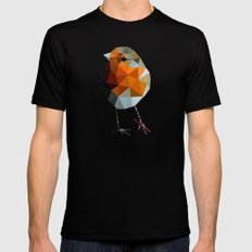 Christmas Poly robin Black MEDIUM Mens Fitted Tee