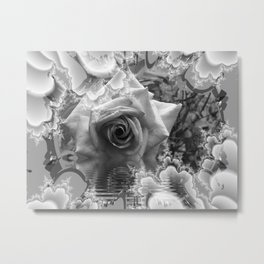 Black and White Rose with Reflections Metal Print
