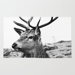 The Stag on the hill - b/w Rug