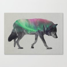 Wolf In The Aurora Borealis Canvas Print