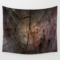 tree rings Wall Tapestries featuring Rings  by OrdinaryAdventures