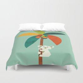Koala on Coconut Tree Duvet Cover