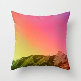 Boulder Colorado Flatirons Decor \\ Chautauqua Park Sunset Red Yellow Photo Nature Bohemian Style Throw Pillow