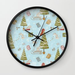 From Mice And Christmas-Cute teal X-Mas Pattern Wall Clock