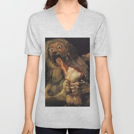 SATURN DEVOURING HIS SON - GOYA Unisex V-Neck