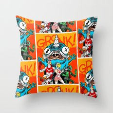 the Cryptid Crew VS Uncle Corny Kaiju Throw Pillow