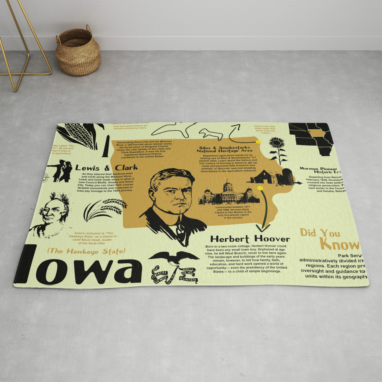 Iowa National Parks Infographic Map Rug